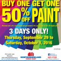 3 Day Paint Sale! Buy One Get One 50% OFF